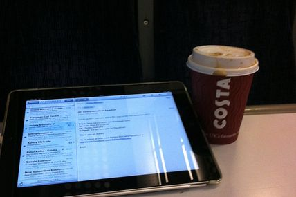 Train ride to Kent - fields and seaside views and catch up with work.