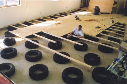Système de Plancher Suspendu en pneus, Dojo