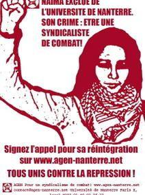 Solidarité avec Naïma, militante de l'AGEN, poursuivie par la direction de l'Université de Nanterre