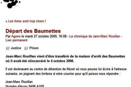 Jean-Marc Rouillan transféré à Muret [Agone, 27 octobre 2009]