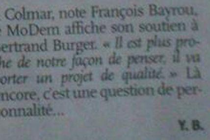 L'Alsace: François Bayrou soutient Bertrand Burger