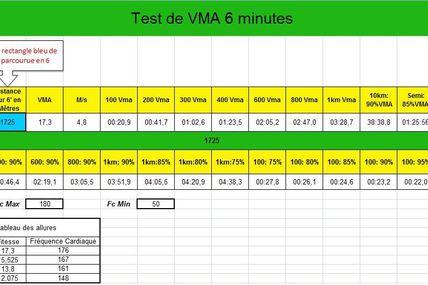 Calcul de la VMA - Vitesse Maximale Aérobique (Marathon, triathlon)