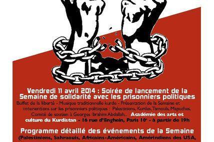 Semaine internationale de solidarité avec les prisonniers politiques.