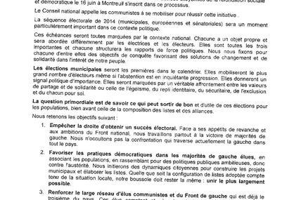 Résolution adoptée par le Conseil National des 25 et 26 mai 2013