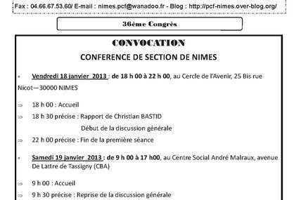 convocation de la Conférence de section des 18 et 19 janvier 2013