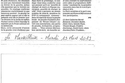 """La Marseillaise, mardi 19 mars 2013 : """"un forum pour organiser la victoire de la gauche"""""""