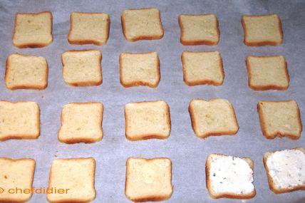 Toast aux crevettes et gouda, pour l'apéritif...