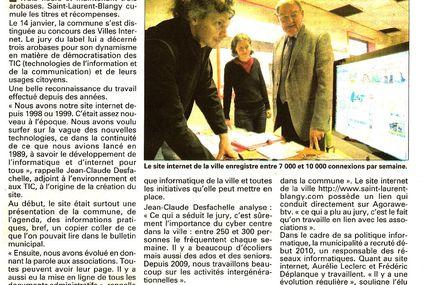 Agorawebtv associée à l'obtention du 3e arobase des Villes internet à Saint-Laurent-Blangy