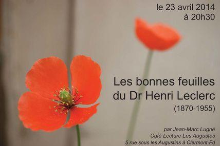 Café Phyto du 23 avril 2014 : les bonnes feuilles du Dr Henri Leclerc (1870-1955)