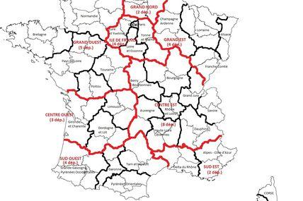 Je suis pour 34 départements et 9 régions en France métropolitaine