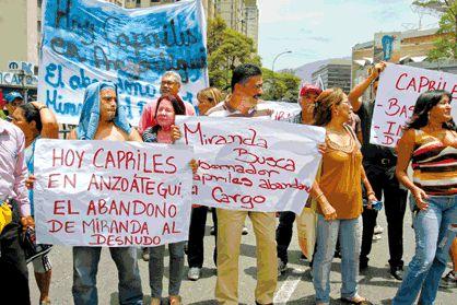 Mirandinos protestan contra gestión de Capriles:...
