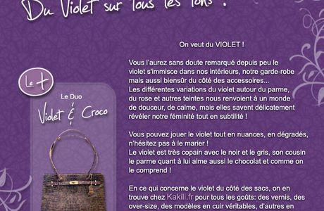 Le violet, côté mode, le violet, côté sacs !