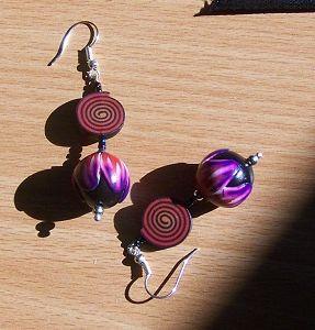 Boucles d'oreilles fimo spirales et fleurs