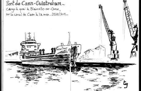 Cargo sur le canal de Caen par Thomas Gillard, illustrateur