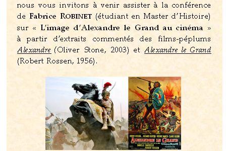 """Conférence F. Robinet """"L'image d'Alexandre le Grand au cinéma"""" - 08/02/11"""