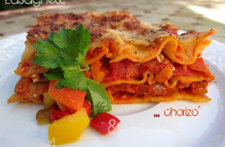Lasagnes quatre poivrons et chorizo