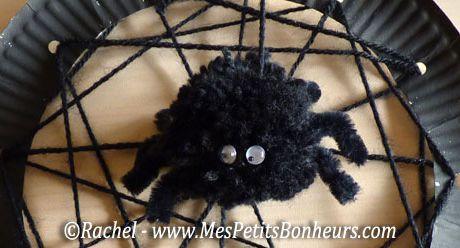 Araignée en pompon & sa toile en laine