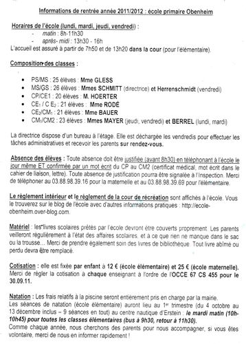 Informations Administratives Ecole Obenheim