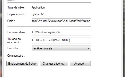 [Windows 7] Verrouiller la session par raccourci clavier