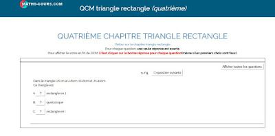 qcm TRIANGLE RECTANGLE ET PYTHAGORE (QUATRIÈME)