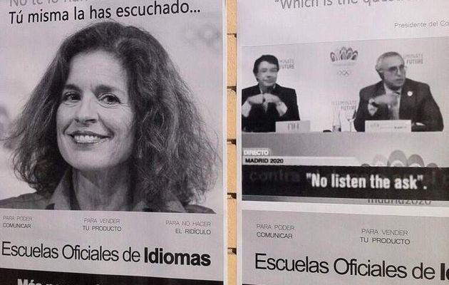 Usan la imagen de Ana Botella en un cartel en defensa de las Escuelas de Idiomas