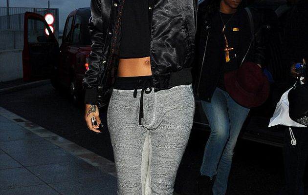 Despite early morning wake-up call, Rihanna cuts a stylish figure as she heads to Heathrow for flight home