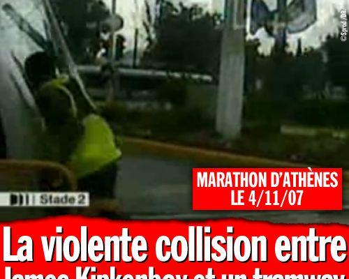 La violente collision entre James Kipkenboy et un tramway