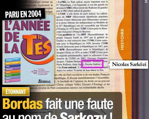 Bordas fait une faute au nom de Sarkozy !