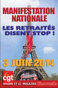 Non au gel des pensions de retraite ! Le 3 juin, tous à Paris !
