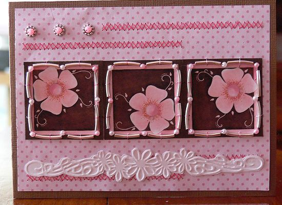 Carte Marjoleine rose et marron