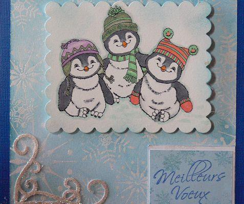 """Carte de voeux 2011 """"Les 3 pingouins"""""""