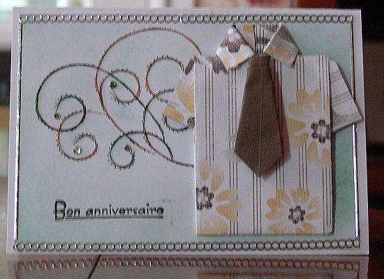Carte chemise et cravate en origami