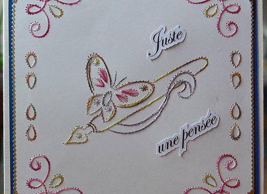 """Carte brodée """"Juste une pensée"""""""