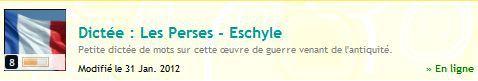 Quizz 155 : dictée. Les Perses - Eschyle