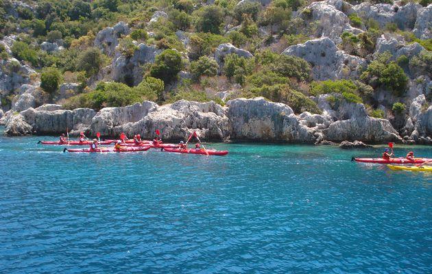 Un peu de kayak en mer turquoise, Kekova : Lycie