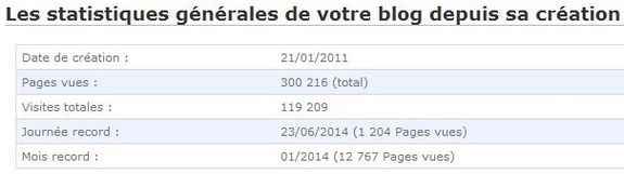 Point statistiques : 300 000 pages vues