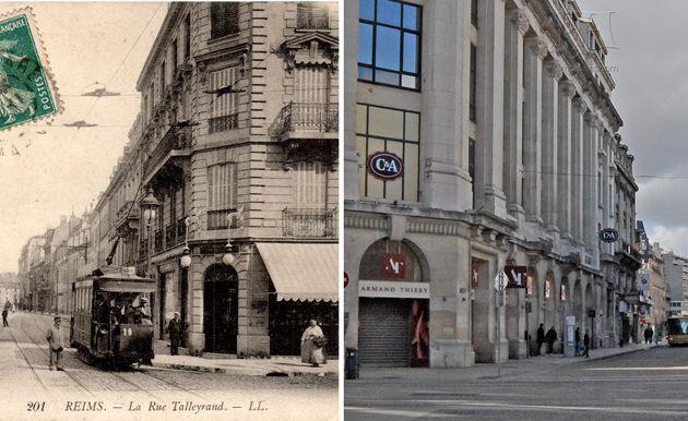 Angle de la rue de Vesle et de la rue de Talleyrand à 3 époques