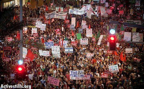Manifestations de masse en Israël, avec notamment 120 000 manifestants à Tel-Aviv, contre la politique réactionnaire du gouvernement Netanyahu