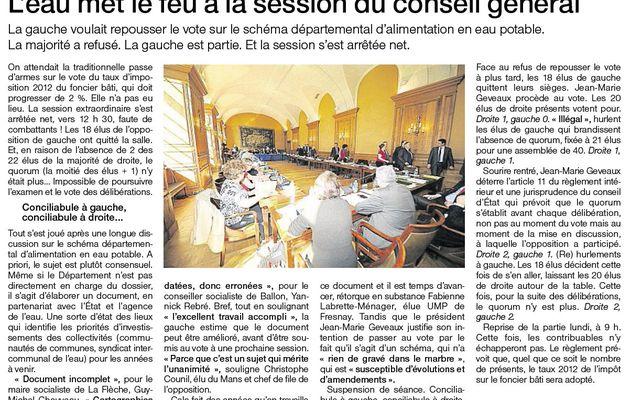 L'eau met le feu à la session du Conseil général