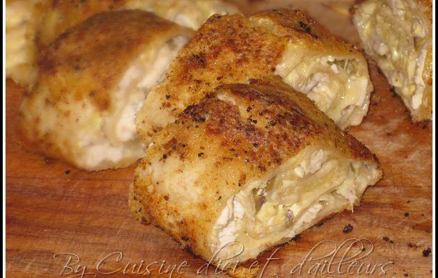 Roulés panés de poulet & olives