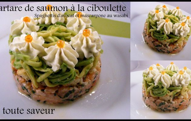 Tartare de saumon à la ciboulette spaghettis d'avocat et mascarpone au wasabi