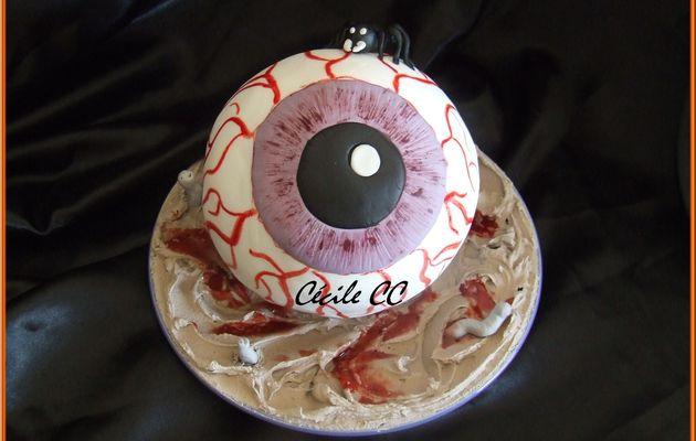 Un gâteau 3D en forme d'oeil pour Halloween....
