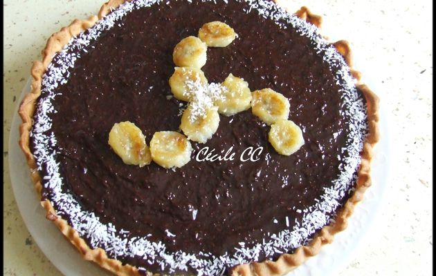 Tarte banane, chocolat, noix de coco....