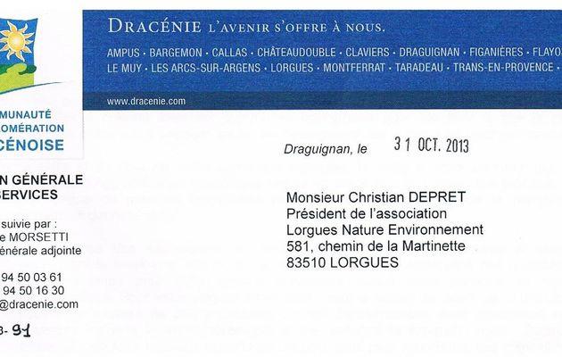 Déchetterie de Lorgues : réponse du Président de la Communauté d'agglomération dracénoise.