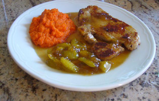 Côte de veau, prunes et purée de carottes