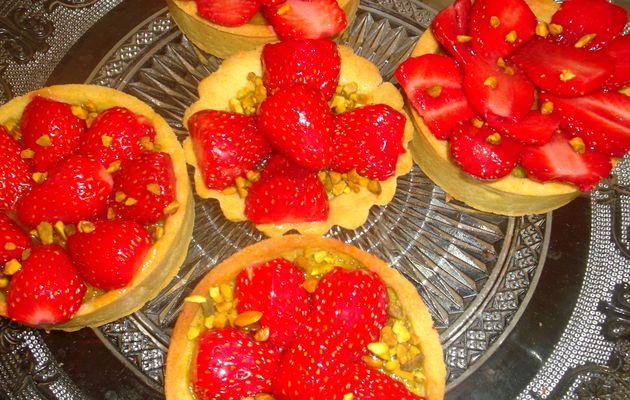 Tarte aux fraises à la pistache
