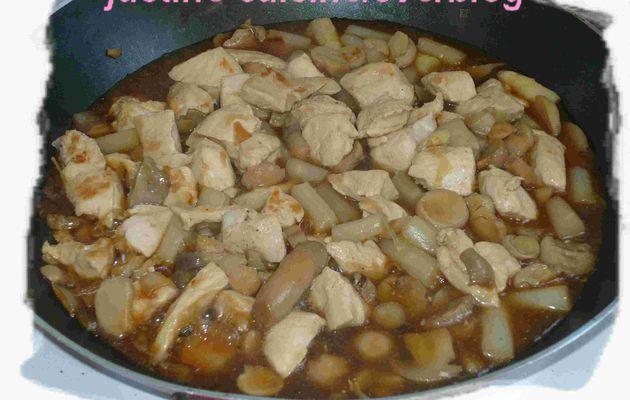 Poélée de poulet aux champignons et asperges
