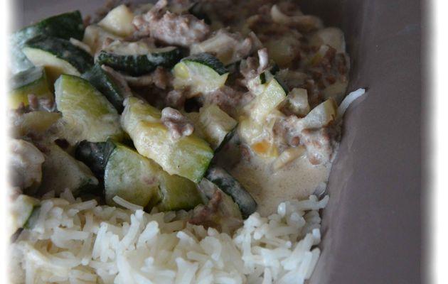 Poélée de courgettes et champignons au riz et à la viande