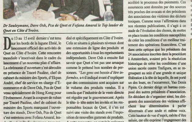 DAVE OSH PCA de Qnet dans la presse Ivoirienne
