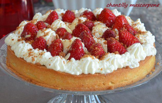 Tarte aux fraises amandes chantilly mascarpone